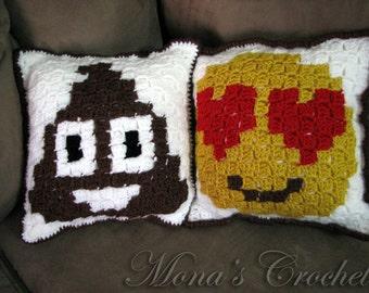 Made To Order | Hand Crocheted Corner-To-Corner Emoji Pillow | Emoji Throw Pillow | Decorative Pillow | Whimsical Pillow