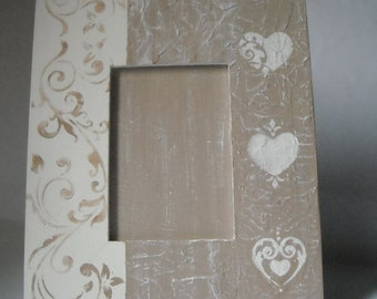 Frame photo holder, with support, with stencil on the materical surface.OOAK