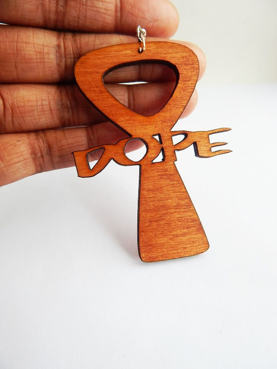 dope earrings dope earrings hip hop jewelry ankh wooden 2263