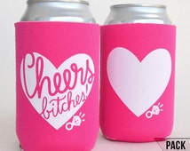 Bachelorette party favors - Bachelorette Party Cups - Bachelorette can coolers - Pink - Pack of 5