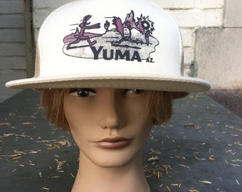 Vintage Yuma Arizona Snapback. Tan Brown Wile Coyote and Road Runner Trucker Hat. Cap.