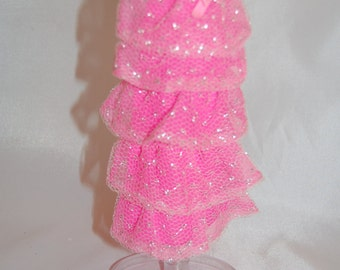 Vintage 1969 Barbie Outfit #1871 Romantic Ruffles Near Complete Dress Gown Pink