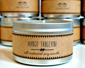 MANGO TANGERINE Soy Candle. Natural Candle. Scented Candle. Eco Friendly. Vegan Friendly. Natural Gift. Custom Gift.