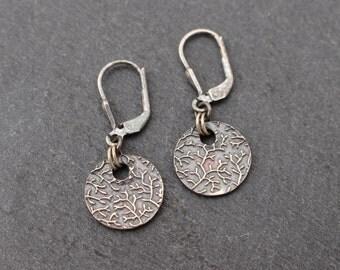 Coral Earrings Fine Silver Earrings, Sterling Silver Lever Back Ear Wires
