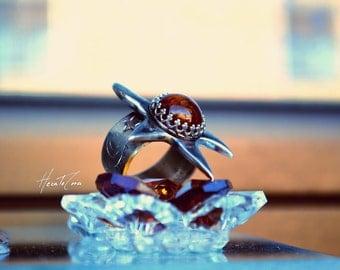 Star Amber silver ring, Amber silver ring, Size 7 US,  stacking ring, boho ring, handmade original star, hammered band, orange silver ring