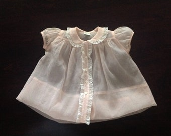 1950s Baby Girls' Dress, Sheer Pink Kate Greenway Fancy Dress, Retro Party Dress Size 9 Months