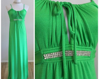 Vintage 70's ROBERTA of California Neon Kelly Green Rhinestone Grecian Halter Maxi Dress