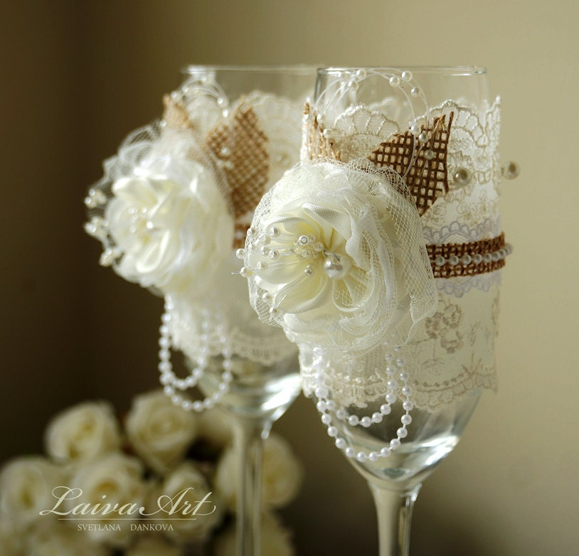 Rustic Wedding Champagne Flutes Toasting Glasses Bride and