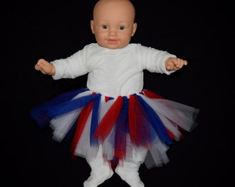 Patriotic Infant Red, White and Blue Tutu with White 0-3 Onsie