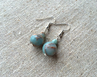 Beautiful Natural Opal Double Bead Pendant Earrings - October Birthstone