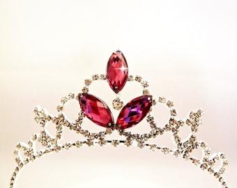 Princess Party Hat ,PRINCESS TIARA Crown, Pink Birthday Hat Tiara Headband, Girls Birthday Party Tiara,Rhinestone Toddler Tiara Headband