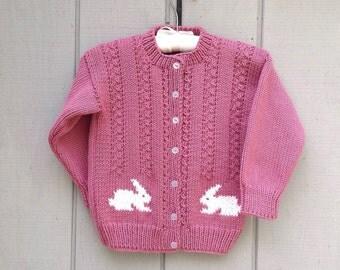 5 years - Knit bunny cardigan - Kids bunny sweater - Girls knitted cardigan - Girls pink cardigan