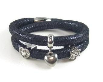 Navy Blue Leather Charm Bracelet, Nappa Leather Bracelet, Womans Bracelet, Blue Charm Bracelet, Leather Charm Bracelet, Removable Charms