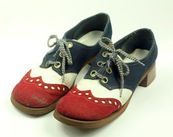 Sz 9.5M - 1970's Red White 'n' Blue Suede Leather Oxford Shoes