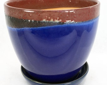 "Glazed Ceramic Egg Pot/Saucer - Oxblood/Blue - 7"" x 6"" with Felt Feet"