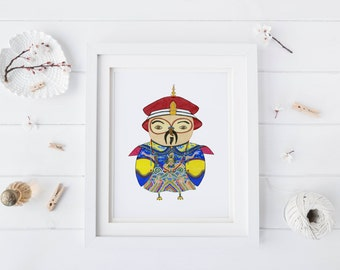 Chinese Emperor Owl, Watercolor Art Print