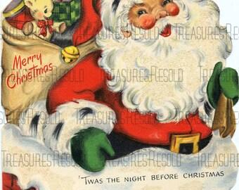 Retro Santa Claus Going Down Chimney Christmas Card #567 Digital Download