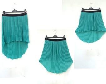 Vintage skirt / PLEATED MINI SKIRT /  Asymmetric  Skirt