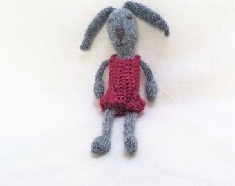 Hand Knitted Grey Bunny Wearing a Pink Jumpsuit