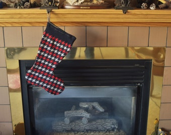 Knit Christmas Stocking made from an Up-cycled Tommy Hilfiger houndstooth sweater, Christmas stocking, holiday stocking, fully lined