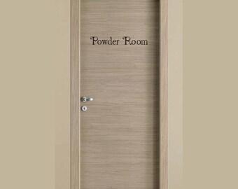 Bathroom door sign etsy for Powder room door size