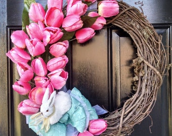 Easter Wreath with Pink Tulips