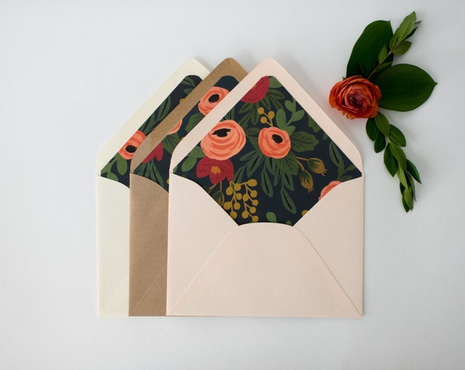 "rifle paper ""rosa"" lined envelopes / navy floral envelope liner / envelopes for wedding invitations / wedding envelopes / envelope liner"