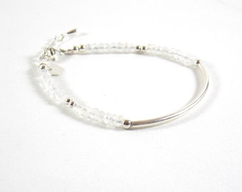 Bracelet 925 half-ring and faceted gemstones of Moonstone. Birthstone of June
