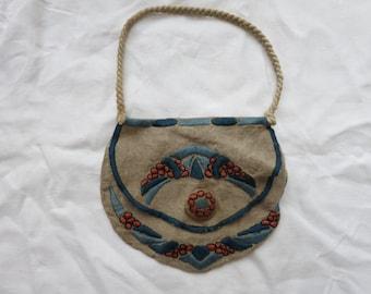 Antique Art Nouveau Embroidered Handbag Pocketbook Purse Edwardian