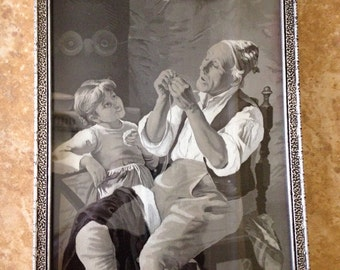 """Antique French Stevengraph: """"A Tailor and Little Girl"""" or """"Threading the Needle"""" after Luigi Bechi"""