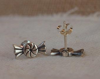 Candy earrings, Candy sterling silver post earrings