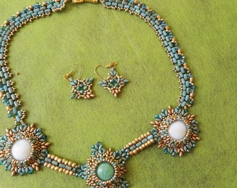 Royal Necklace blue azure white and gold beads Cabochon center mother of bride groom