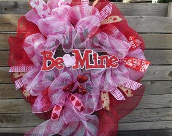 """24"""" Valentine's Day Wreath Be Mine Wreath Heart Wreath Pink Red Valentine Wreath Valentine Deco Mesh Wreath Valentine's Day Mesh Door Decor"""