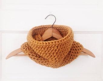 Handmade Chunky Modern Crochet Cowl - Scarf - Mustard