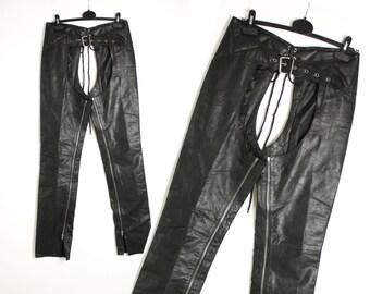 Vintage 90's Black Leather Motorcycle Biker Chaps Pants - Xsmall