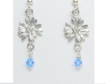 Aster Flower Earrings -Pewter -September Flower- Symbolizes Love, Luck, Elegance- Made in USA-Gardener-September Birthday-September Wedding
