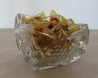 Vintage, pressed glass, square bowl, sugar, candy dish -free shipping USA