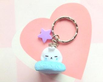 Molang keychain, Kawaii bunny charm, Anime keychain, Fairy Kei, sweet lolita, star keyring, cute apology pillow rabbit, bunny figurine charm