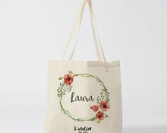 W56Y tote bag wedding, customizable bag, naissange bag, tote gift, tote bag, flower, bag canvas, cotton bag, tote bag where