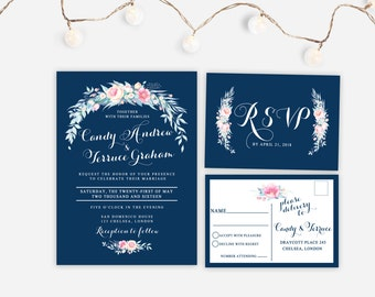 Printable wedding invitation, Navy blue wedding Invitation, Vintage floral wedding invite, Blue wedding invitation, The Grace Collection