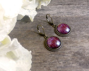 Burgundy sparkly earrings, Holographic glitter earrings, Dark red sparkling jewelry, Glass dome earrings, Burgundy glitter earrings SJ 062