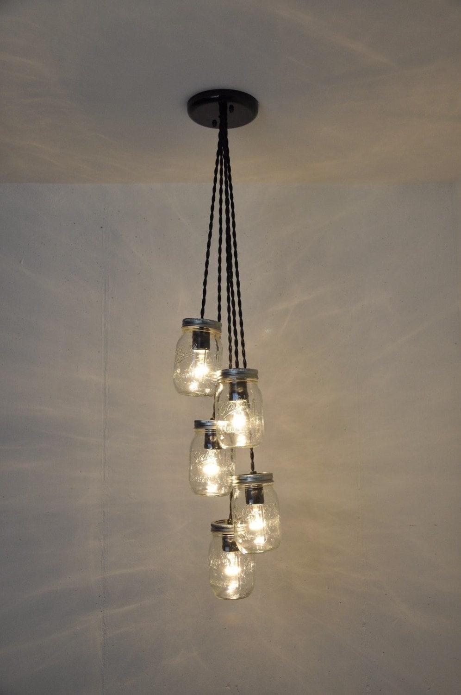 mason jar chandelier 5 jar pendant light fixture hanging. Black Bedroom Furniture Sets. Home Design Ideas