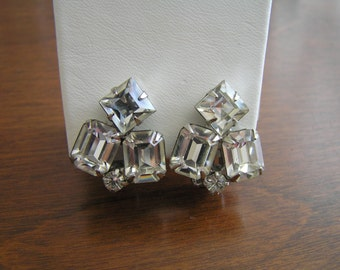 Weiss ClearRhinestoneEarrings, Weiss Rhinestone Earrings, Weiss Emerald Cut Clear Rhinestone Earrings, Weiss Square Cut Rhinestone Earrings