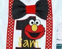 Elmo Bow tie Suspenders Sesame Street Bow tie Suspenders set Boy Cake Smash Boy first year outfit Boy first birthday, Boy Second