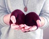 Ready to Ship - Womens Wool Fingerless Gloves in Heathered Berry Purple - Winter Accessories