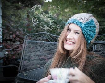 Regina Cloche Hat-Aqua, Knit Cloche Hat, Women's Cloche Hat, Art Deco Hat, Cloche Hat