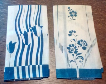 Two small blue and white fingertip towels, Vintage linens, Guest towels, Blue and white silk-like towels,