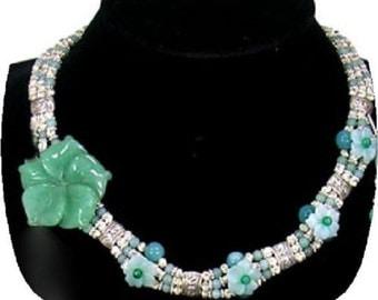 Silver Amazonite Choker Style Necklace Earring Set