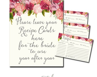 Recipe Card, Bridal Shower Recipe Card, Flowers Recipe Card, Bridal Tea Recipe Card Printable INSTANT DOWNLOAD