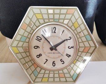 Vintage Pastel Mosaic Electric Wall Clock General Electric